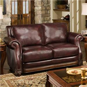 D'Oro Cartwright Leather Loveseat with Nailhead Trim