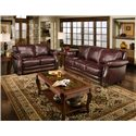 D'Oro Cartwright Leather Loveseat with Nailhead Trim - Shown With Coordinating Sofa