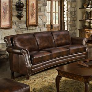 D Oro Maxwell Crescent Curved Leather Sofa With Nailhead Trim