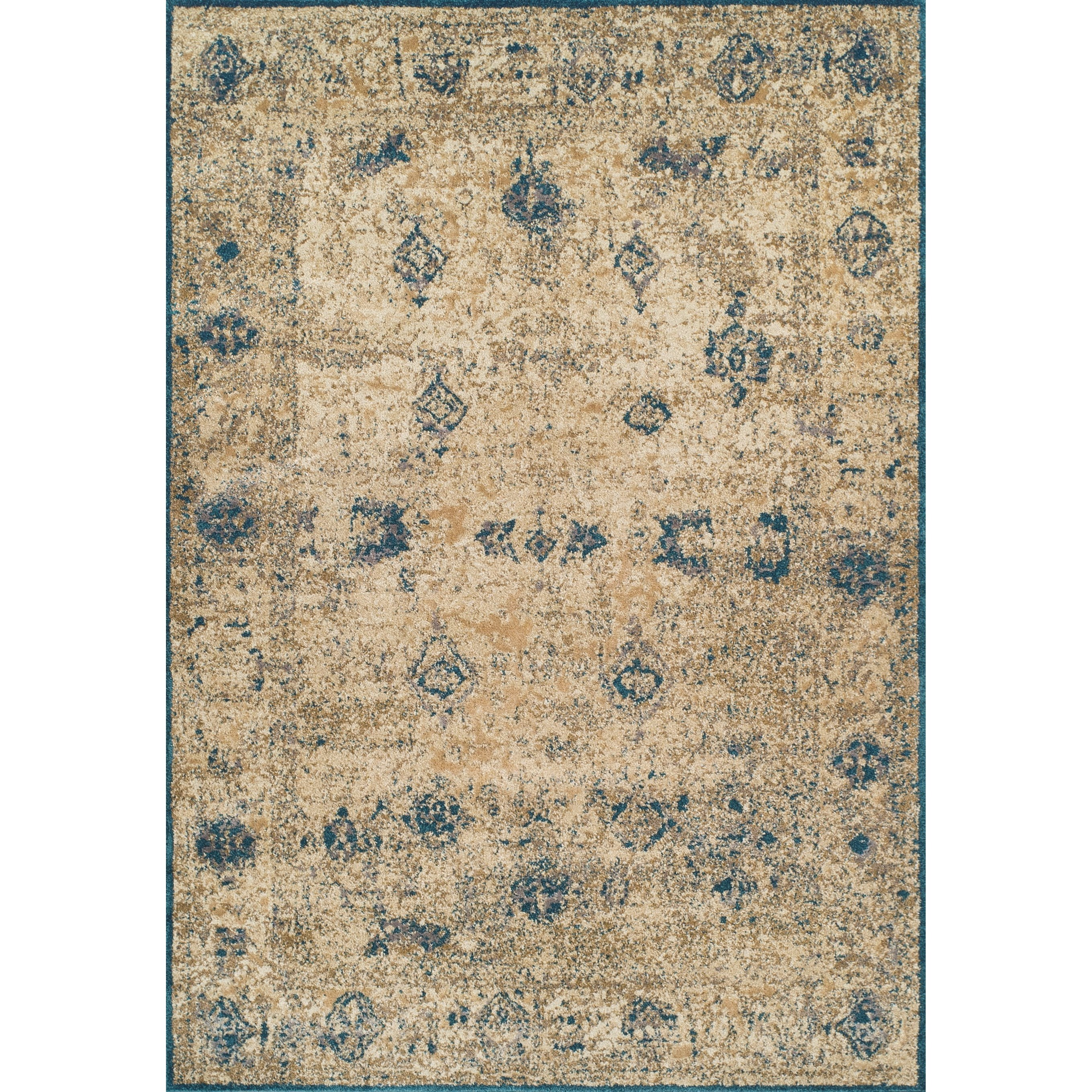 "Dalyn Antiquity Ivory / Teal 5'3""X7'7"" Rug - Item Number: AQ1TE5X8"