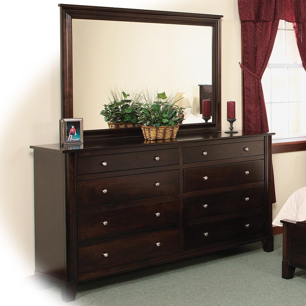 Cosmopolitan 8-Drawer Double Dresser & Mirror by Daniel's Amish at Pilgrim Furniture City