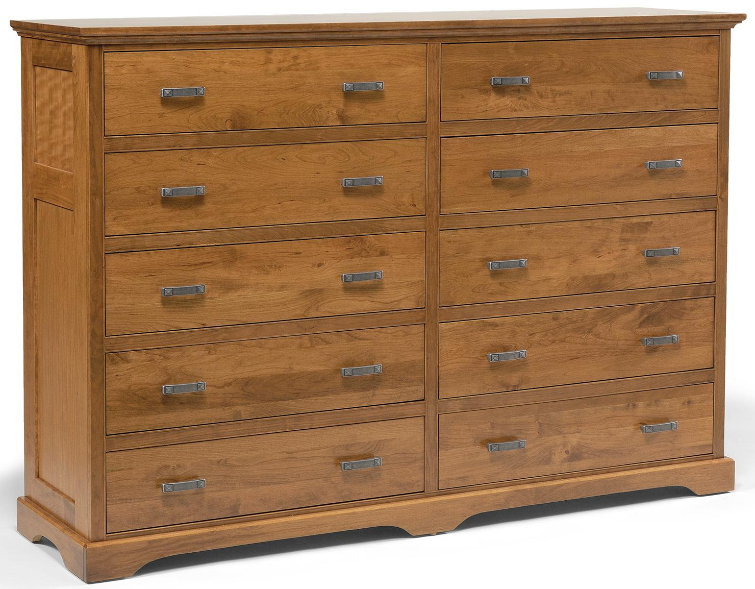 Elegance 10-Drawer Double Dresser by Daniel's Amish at Saugerties Furniture Mart