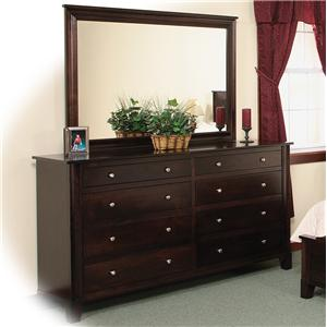Daniel's Amish Amish Cosmopolitan 8-Drawer Double Dresser & Mirror