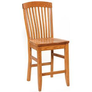"Daniel's Amish Shaker Side Chair 30"" High Stationary Base Stool"