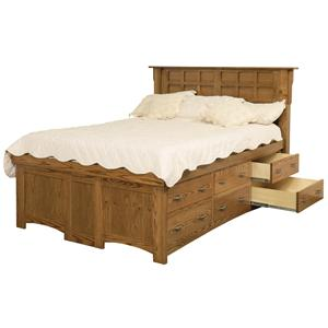 Amish Arts And Crafts King Solid Wood Pedestal Bed With 12