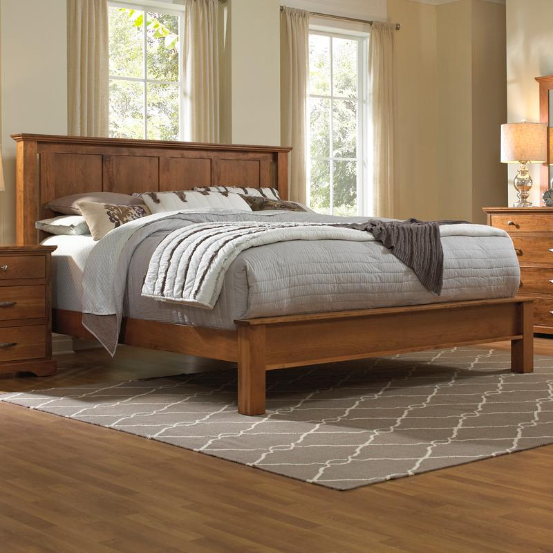 Solid Wood Queen Bed with Low Footboard
