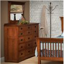 Daniel's Amish Mission 15-Drawer Solid Wood Triple Dresser with 42 X 36 Landscape Mirror
