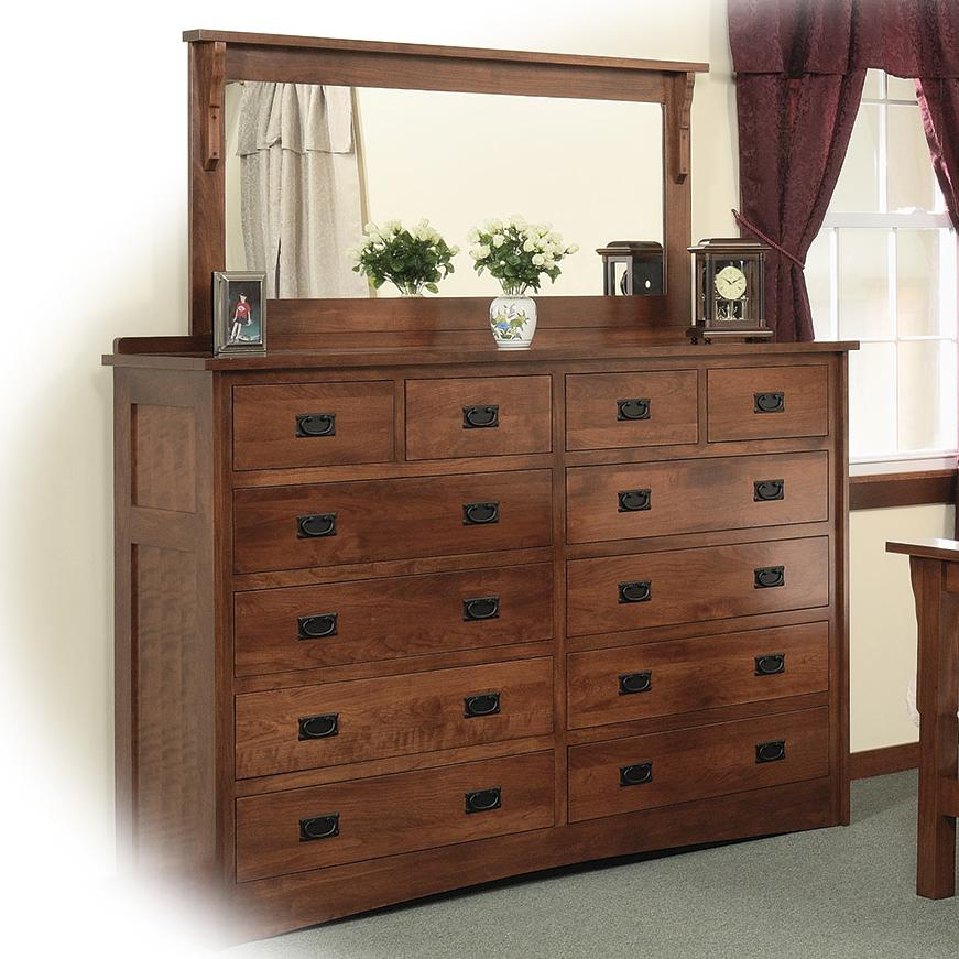 Daniel S Amish Mission 12 Drawer Solid Wood Double Dresser With 58 X 28 Landscape Mirror Belfort Furniture Sets