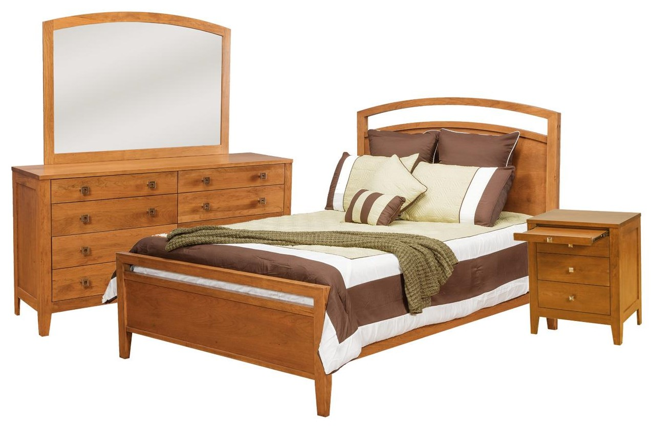 Modern Queen Bed, Dresser, Mirror, Nightstand by Daniel's Amish at Johnny Janosik