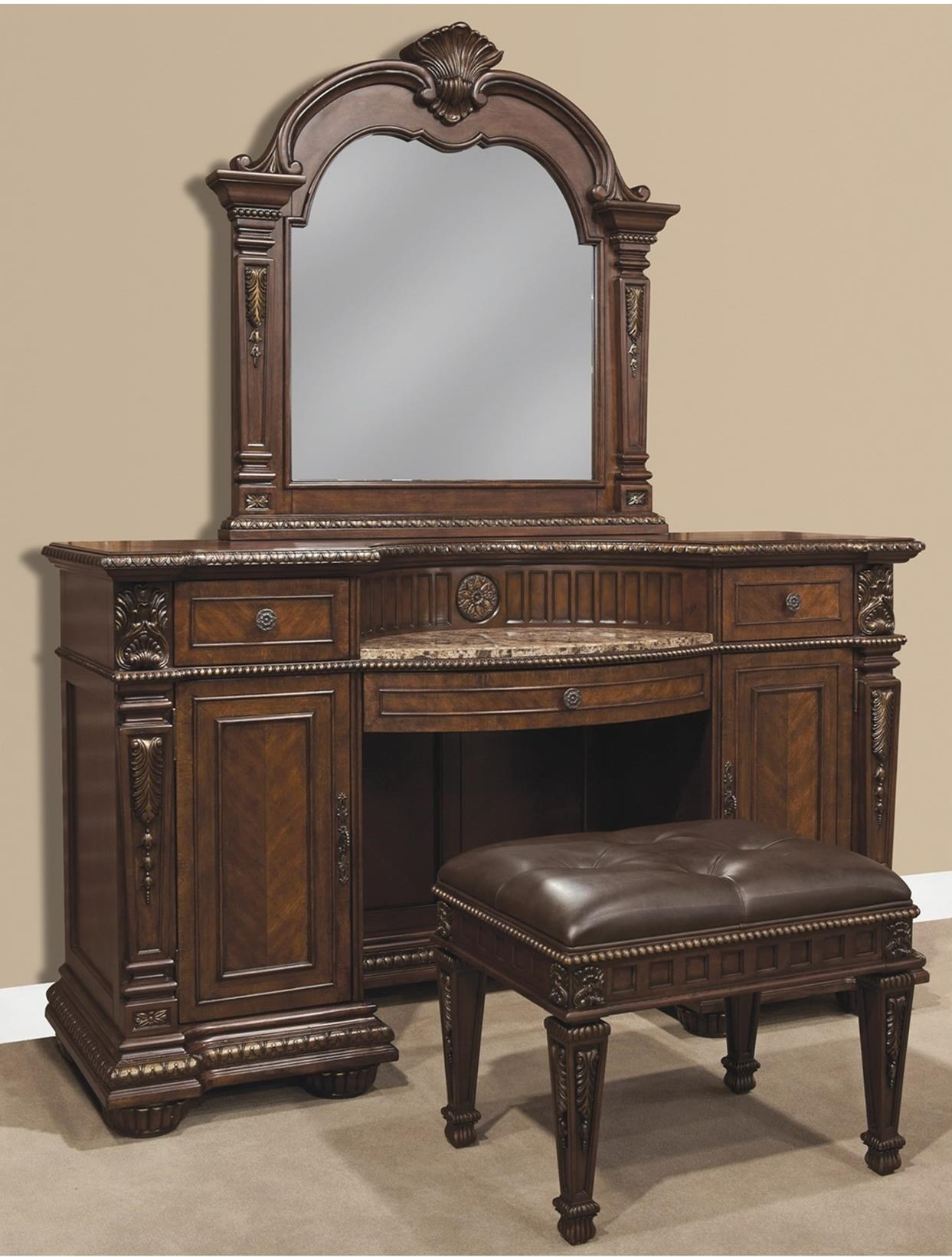 Holland house coventry vanity bench set with mirror - Coventry bedroom furniture collection ...