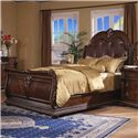 Davis Direct Coventry Traditional King Sleigh Bed with Button Tufted Bonded Leather Headboard  - Bed Shown May Not Represent Size Indicated