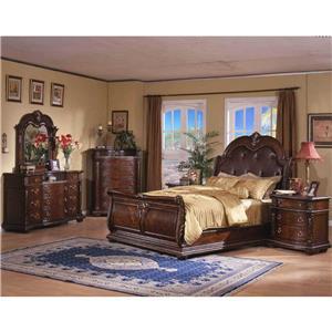 Davis Direct Conventry King Sleigh Bed, Dresser, Mirror & Nightstan