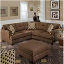 Davis Direct Kansas Square Ottoman with Exposed Wood Feet - Shown in Room Setting with Matching Sectional