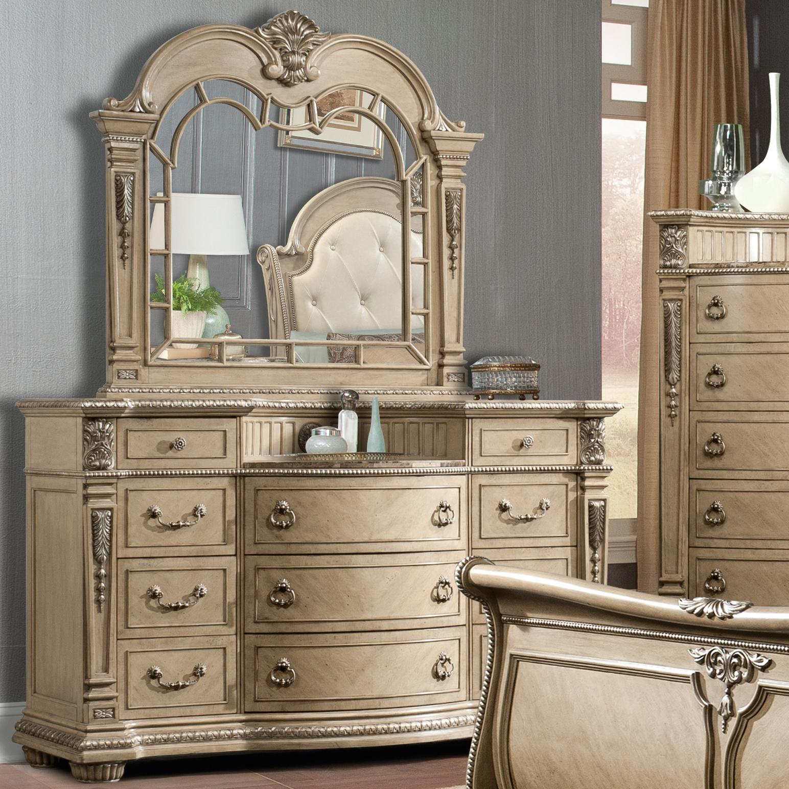 Davis direct monaco traditional elegantly carved dresser and mirror set great american home Design house furniture davis ca