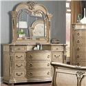 Davis Direct Monaco Traditional Elegantly Carved Dresser and Mirror Set