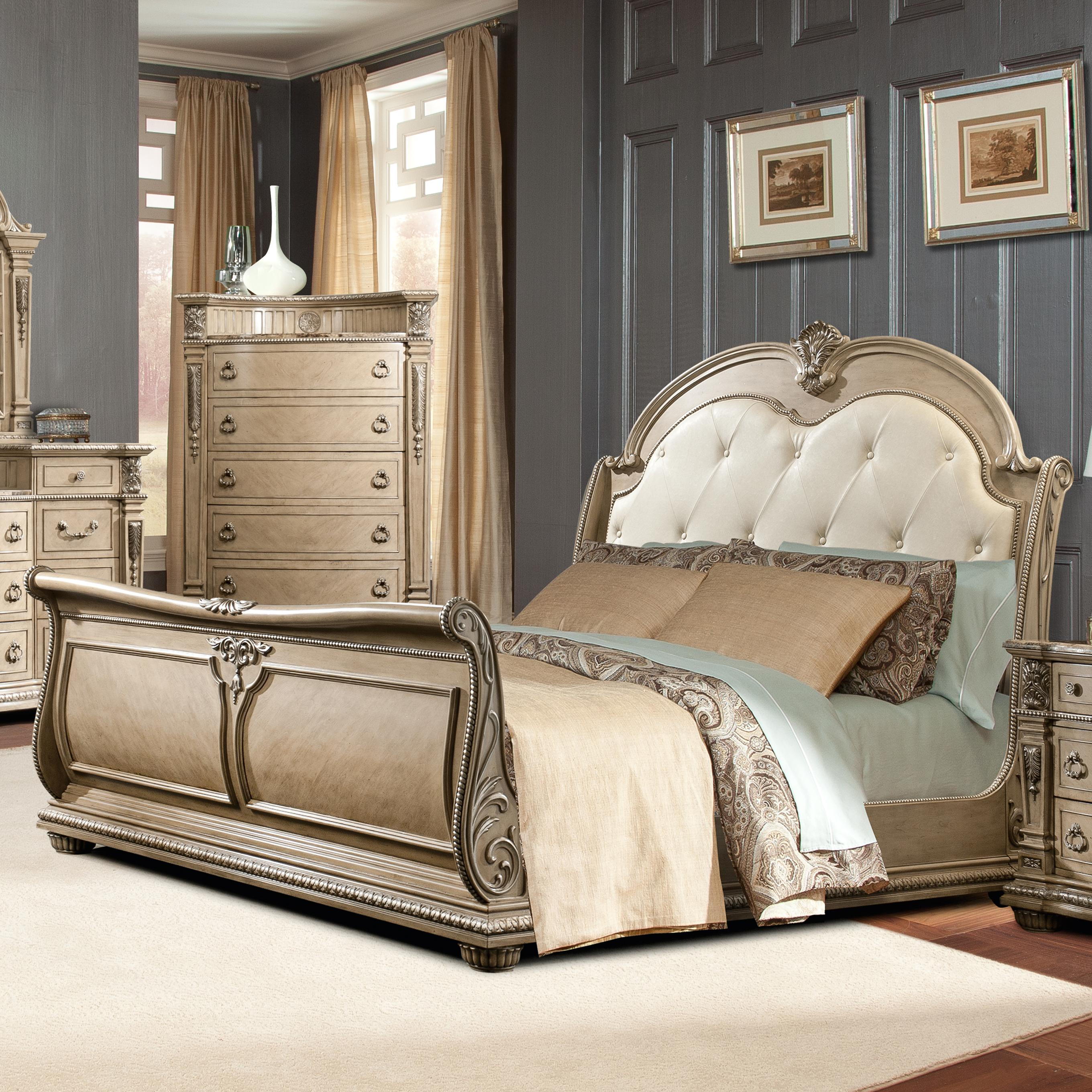 Davis Direct Monaco Queen Sleigh Bed with Diamond Tufted Headboard