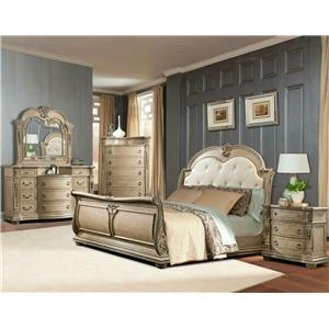 Davis Direct Monaco King Sleigh Bed, Dresser, Mirror & Nightstan