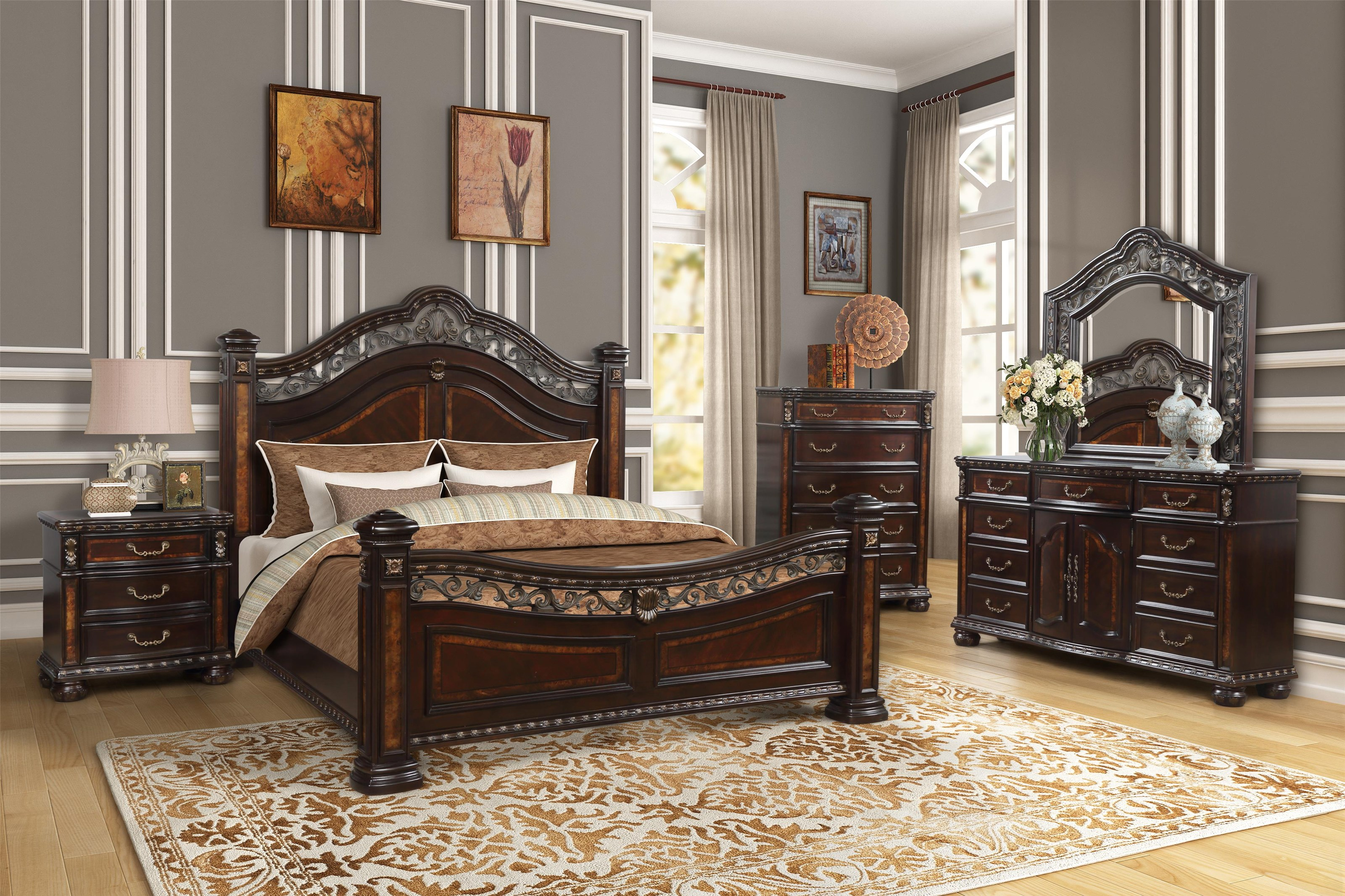 163 6PC QN BEDROOM by Household Furniture Direct at Household Furniture