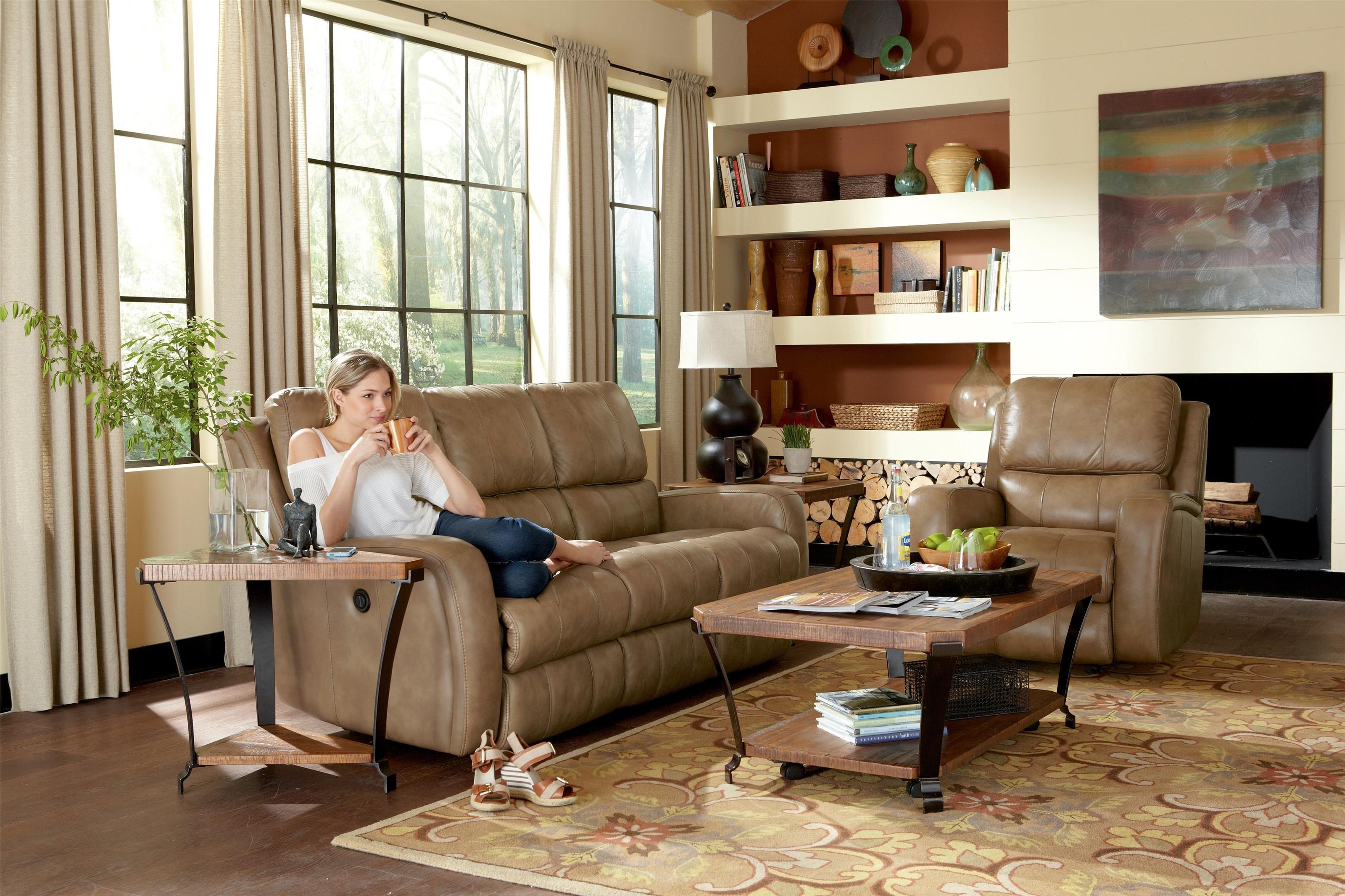 Flexsteel Power Leather Reclining Sofa
