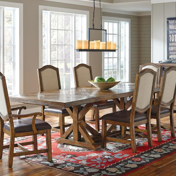 Belfort Select Virginia Mill Saw Horse Dining Table - Item Number: 8854-131B-3+131A-3