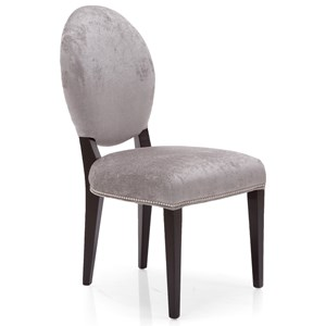 Upholstered Oval Back Side Chair with Nailhead Trim