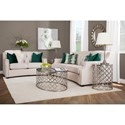 Decor-Rest 2789 Transitional Tufted Sofa with Scooped Arms and Nailheads