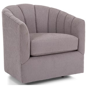 Transitional Swivel Chair with Channel Tufted Back