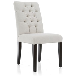 Transitional Exposed Wood Chair with Tufted Back