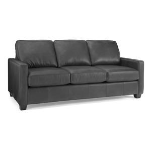 Leather Sofa with 2 Toss Cushions