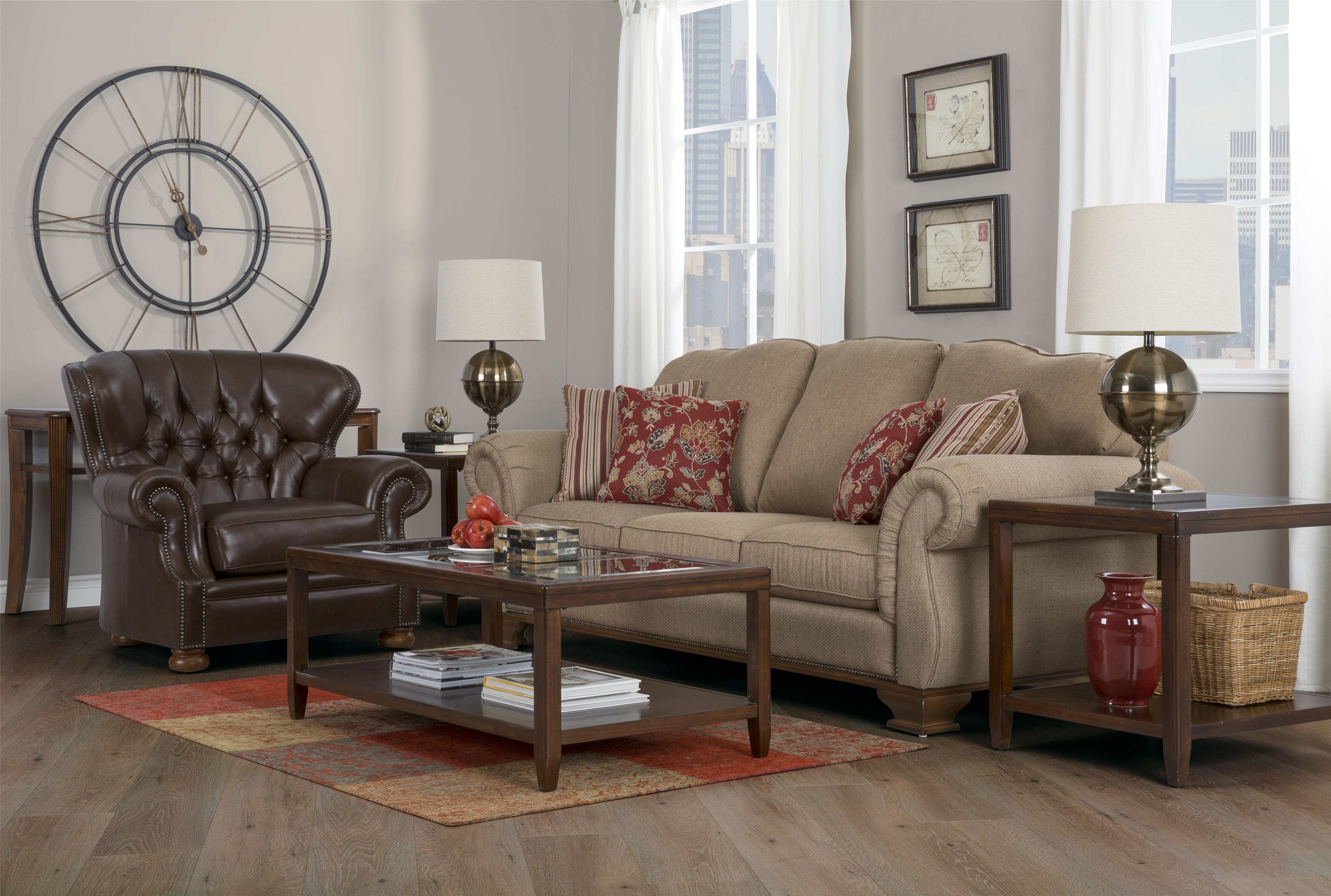 Decor Rest 6933 Traditional Sofa With Exposed Wood Accents