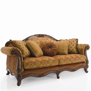 Decor Rest Upholstered Accents Traditional Exposed Wood Sofa