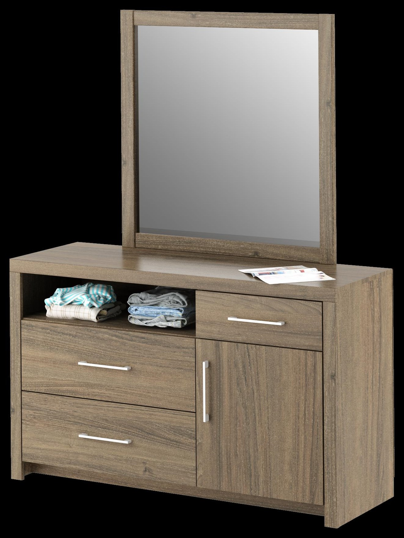Dresser, 3 drawer, Mocha