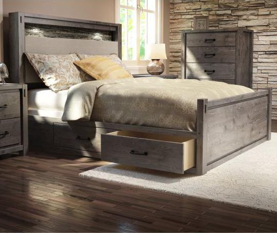 Queen Rustic Panel Storage Bed