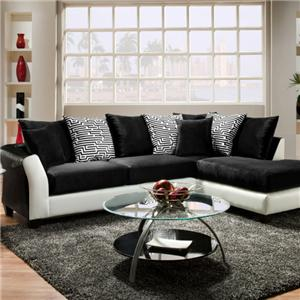 Delta Furniture Manufacturing Avanti Black and White Sectional Avanti Black & White Sectional