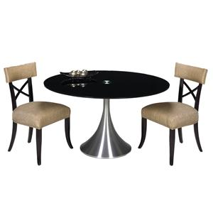 Designmaster Tables Del Mar Table with Black Glass Top