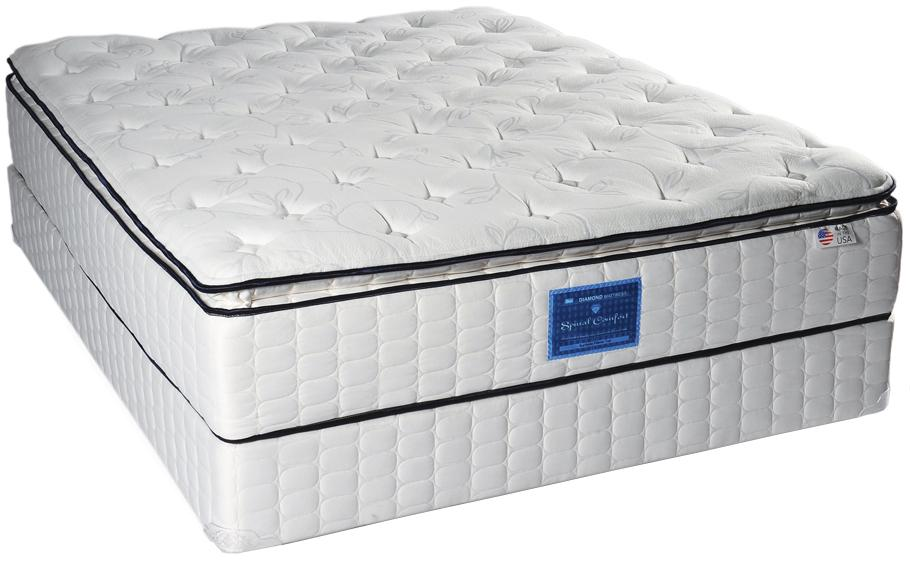 Diamond Mattress Spinal Comfort Surfside Eastern King Pillow Top Mattress Set - Item Number: SCSSPT-1080+2xF096-5081