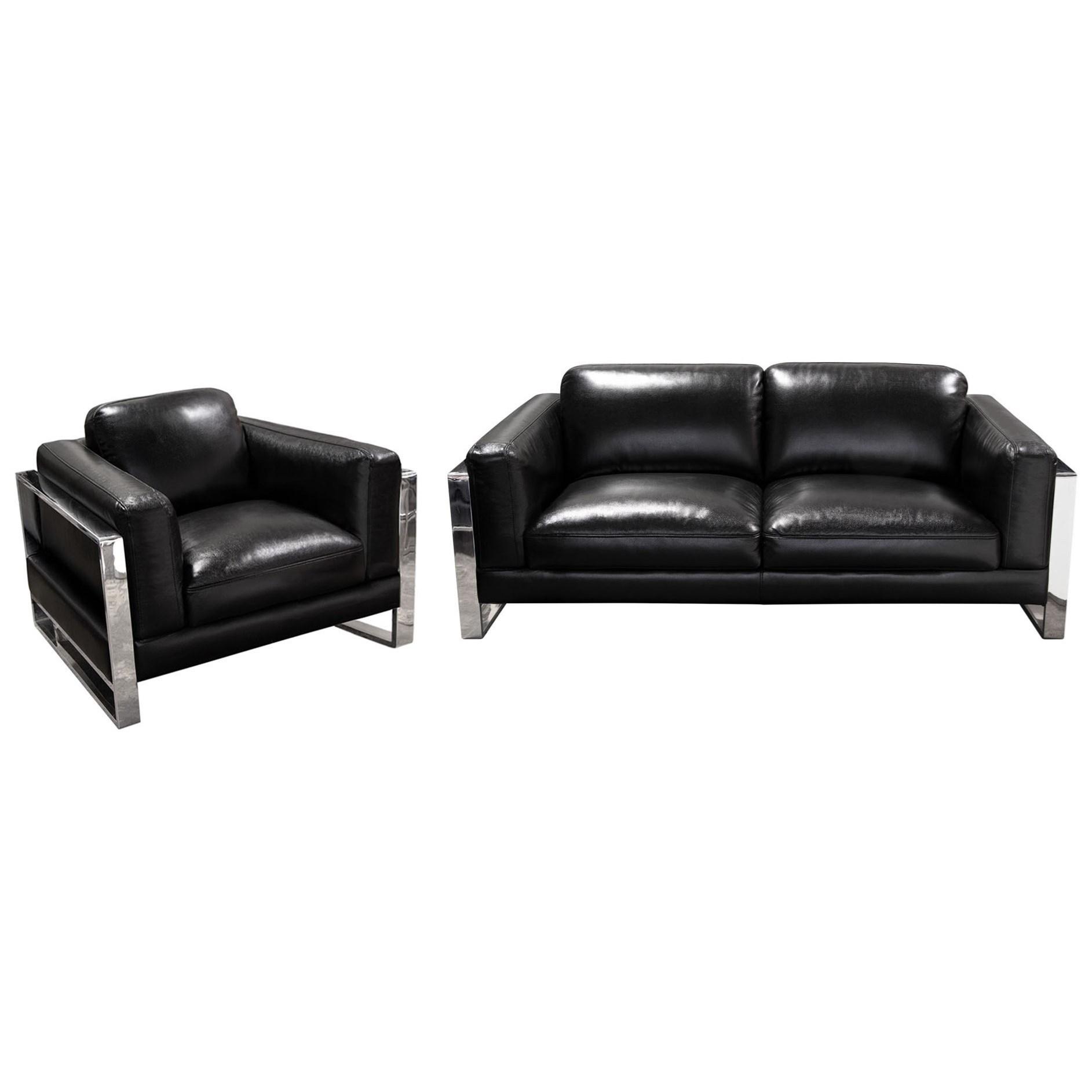 Diamond Sofa Annika Sofa and Chair Package - Item Number: ANNIKASCBL