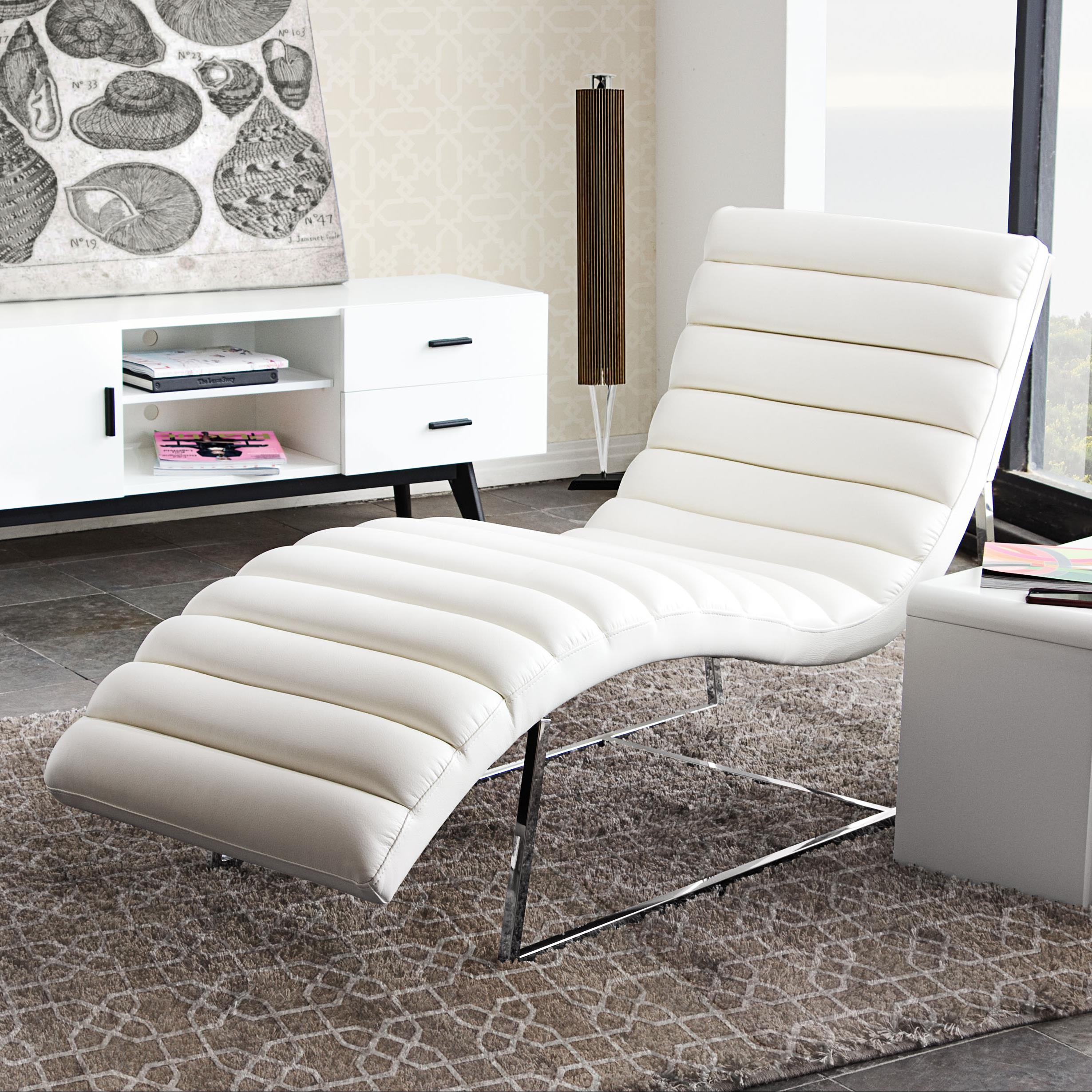 Diamond Sofa Bardot White Chaise Lounge - Item Number: BARDOTCAWH