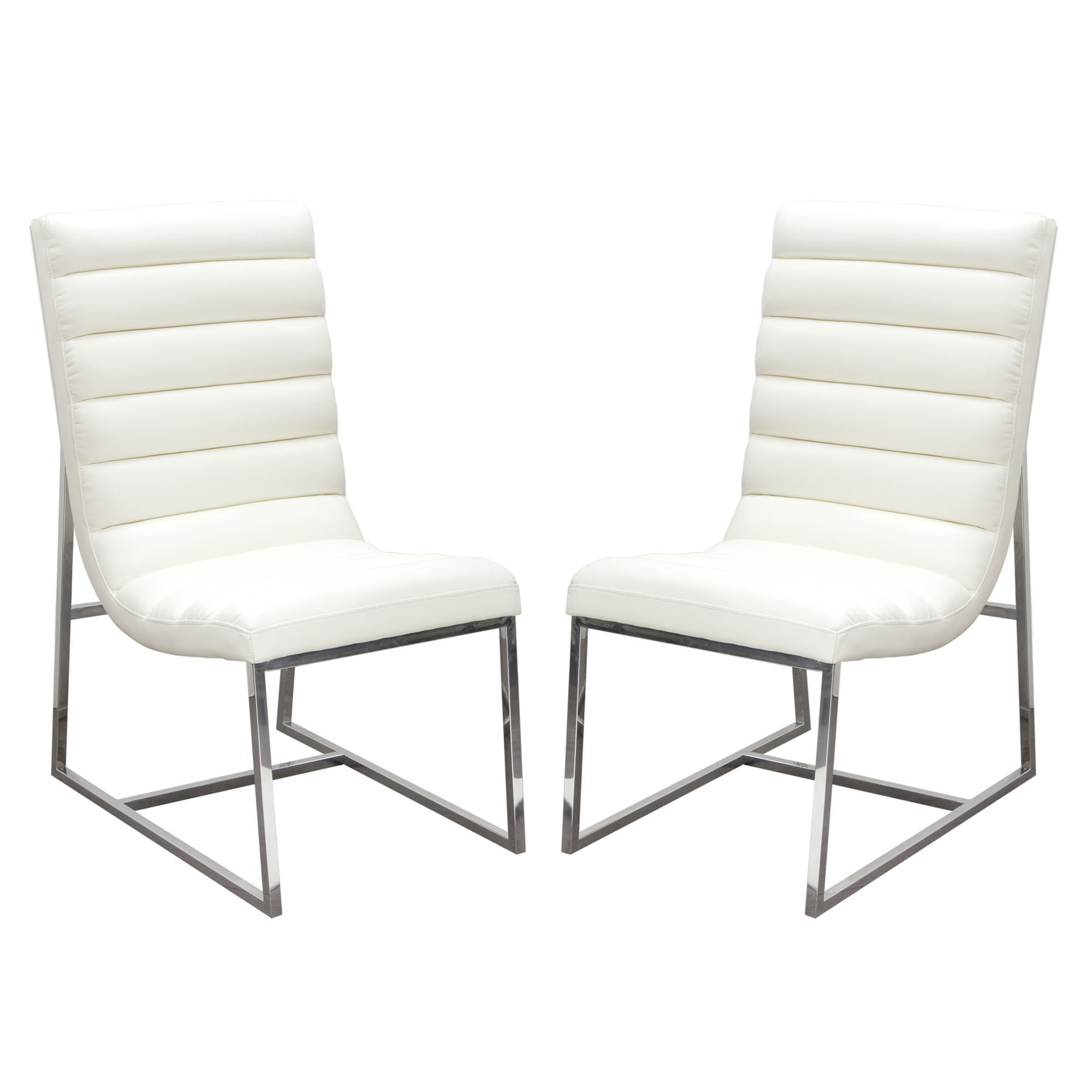 Diamond Sofa Bardot White Set of Two Dining Side Chairs - Item Number: BARDOTDCWH2