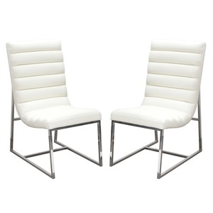Diamond Sofa Bardot White Set of Two Dining Side Chairs