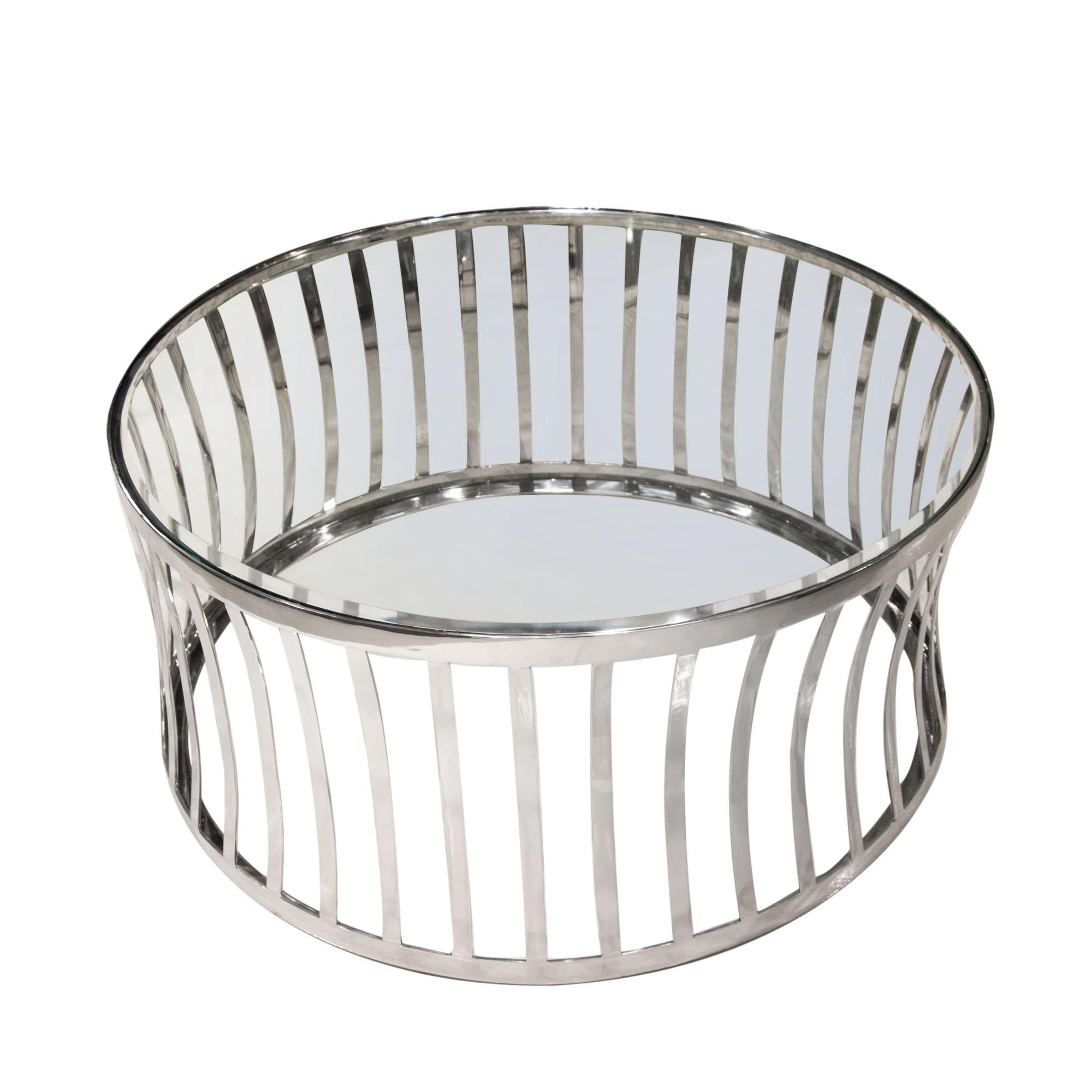 Diamond Sofa Capri Round Stainless Steel Cocktail Table - Item Number: CAPRICTST