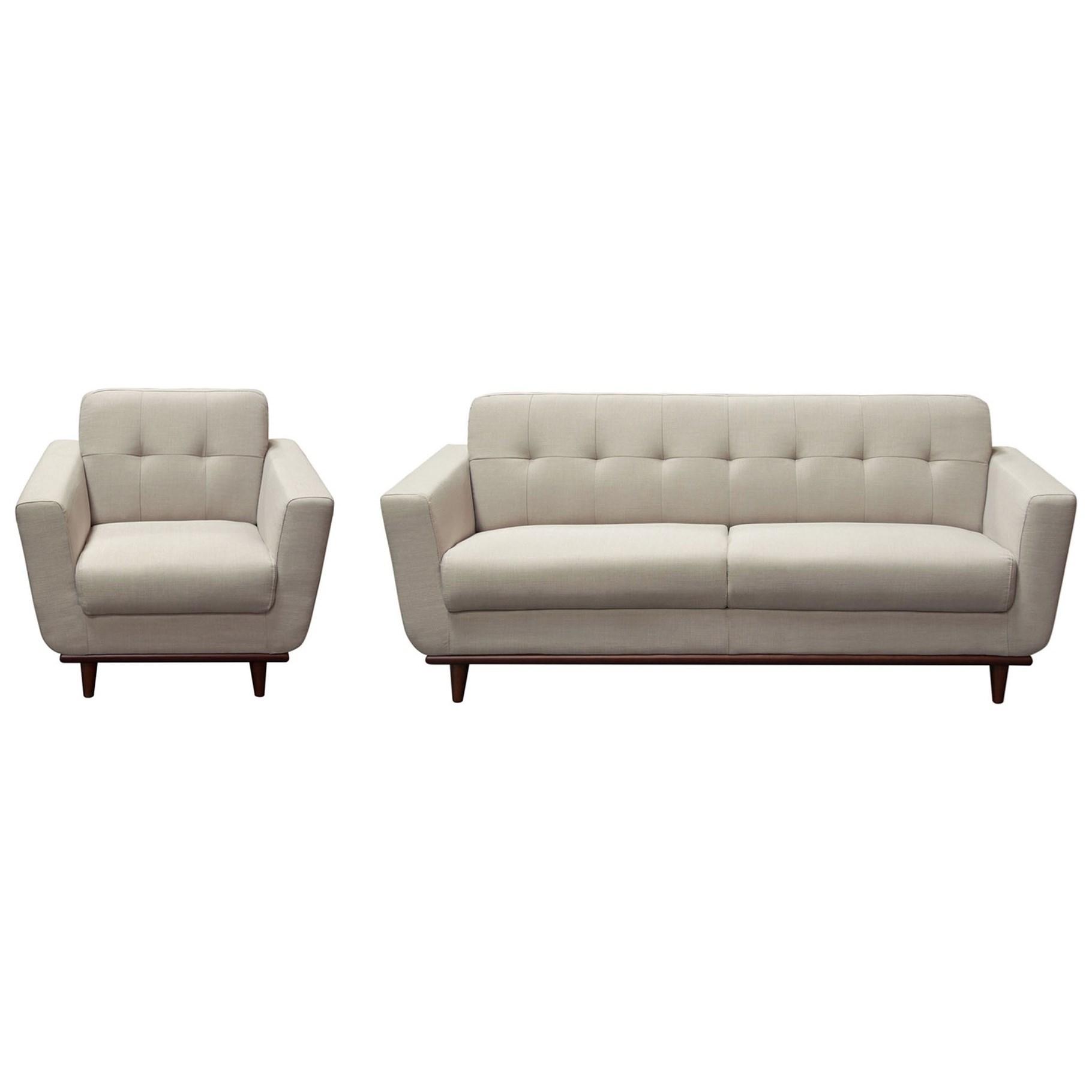 Diamond Sofa Coco Mid Century Modern Sofa and Chair Set with