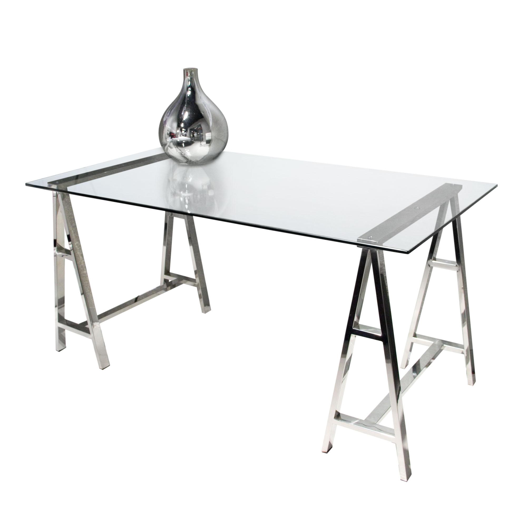 Diamond Sofa Deko Stainless Steel Desk with Clear Glass Top - Item Number: DEKODEST