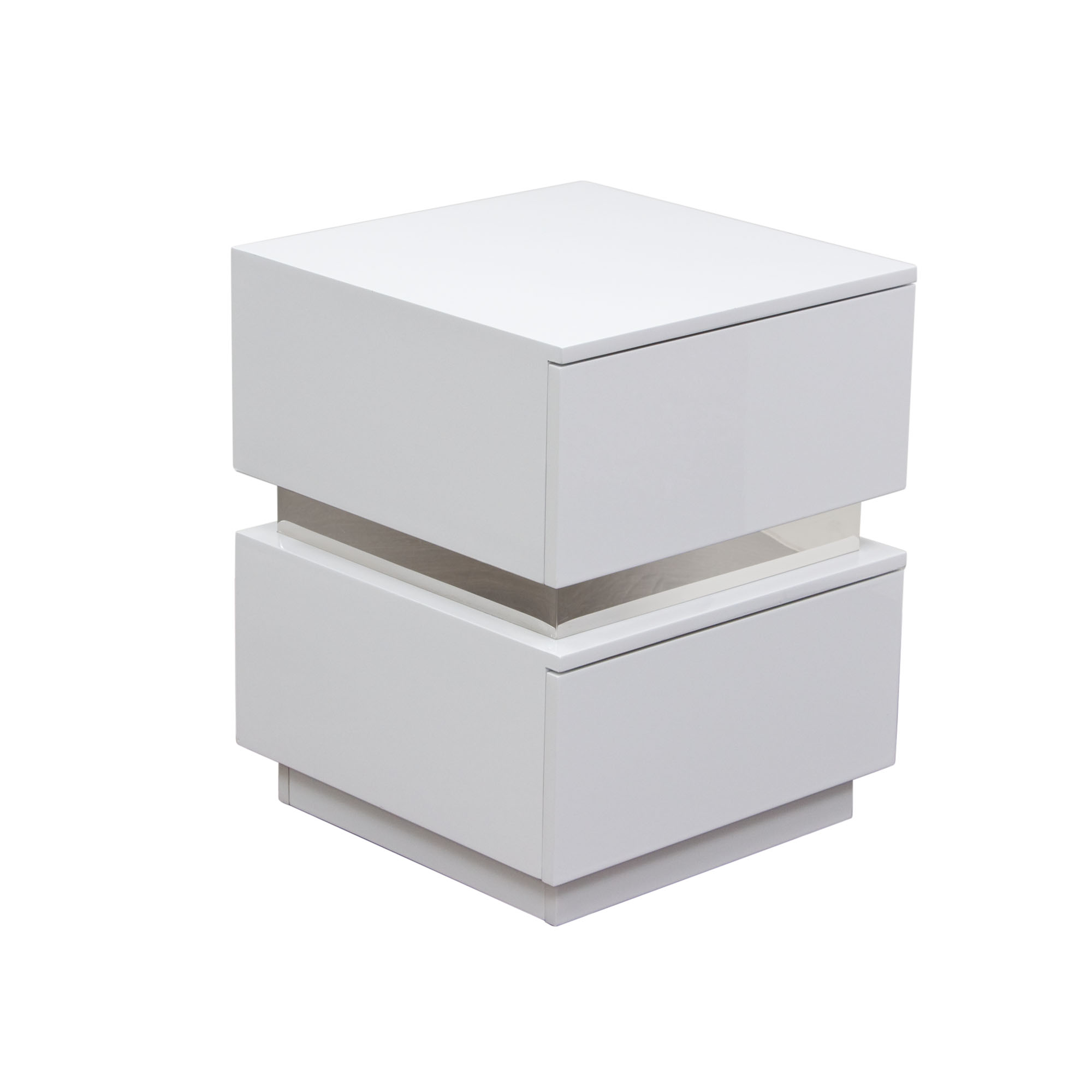 Diamond Sofa Elle 2-Drawer Accent Table in High Gloss - Item Number: ELLENSWH