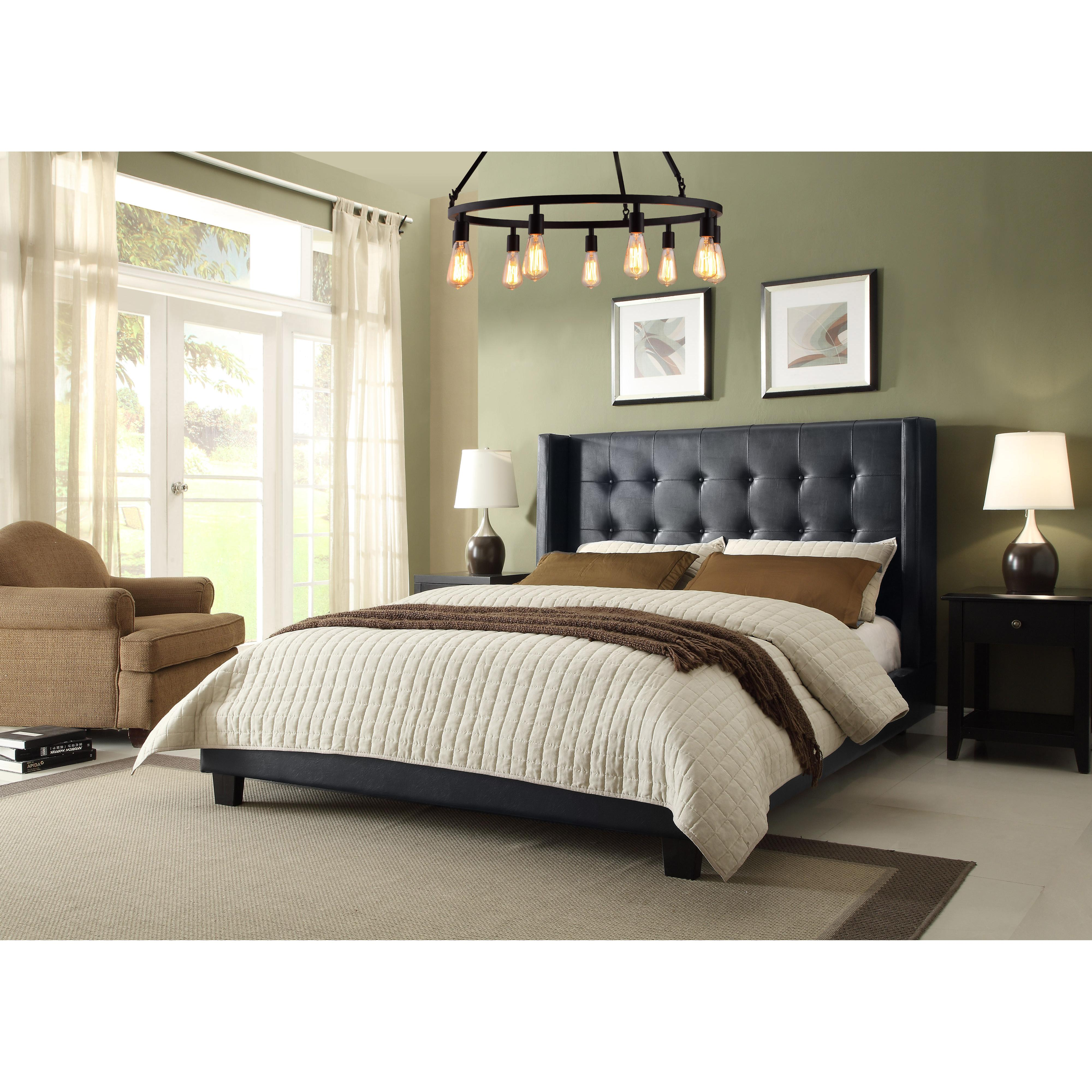 Diamond Sofa Madison Tufted Queen Bed with Tapered Wings - Item Number: MADISONBLQUBED