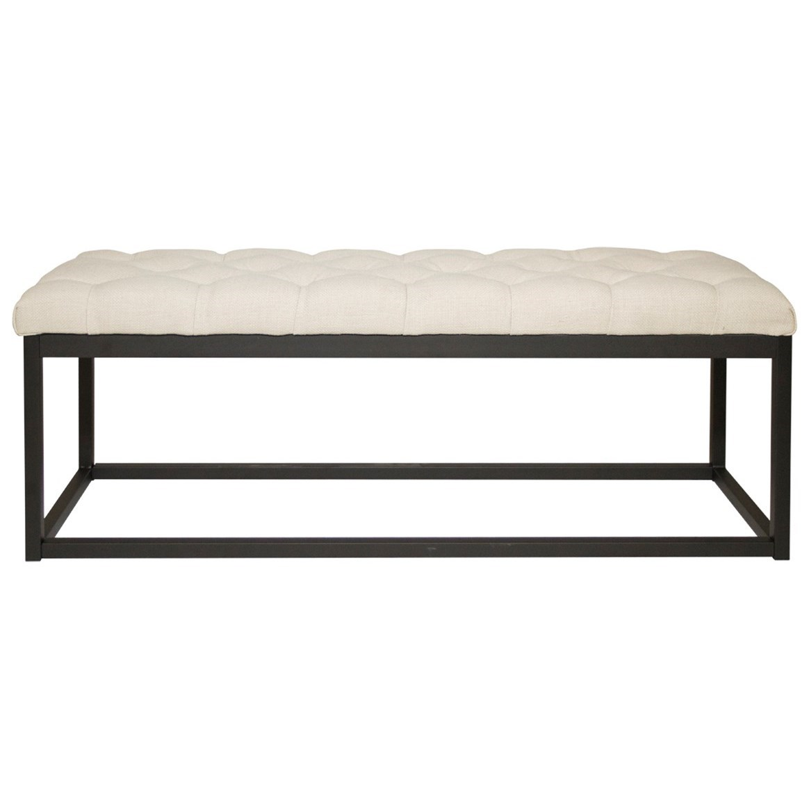 Diamond Sofa Mateo Mateobessd Black Powder Coat Metal Small Linen Tufted Bench Del Sol