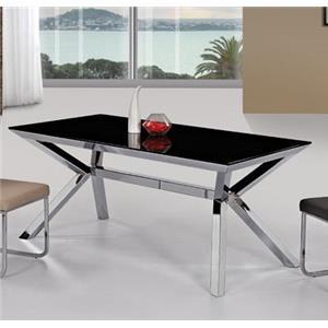 Diamond Sofa Metro Rectangular Black Glass Dining Table