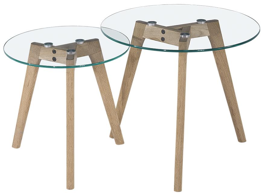 Diamond Sofa Monarch Round 2PC Nesting Tables w/ Oak Legs - Item Number: MONARCHETWO