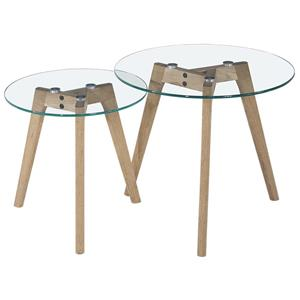 Diamond Sofa Monarch Round 2PC Nesting Tables w/ Oak Legs