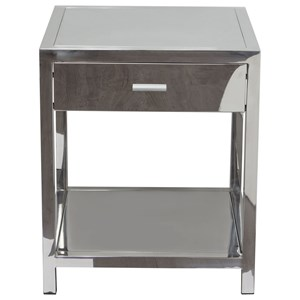 Diamond Sofa Occasional Tables & Entertainment One Drawer Accent Table in Polished Sta